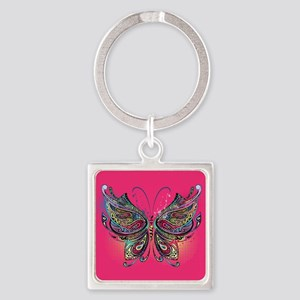 Colorful Butterfly Square Keychain