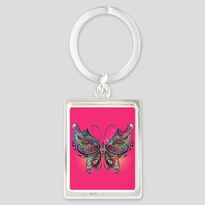Colorful Butterfly Portrait Keychain