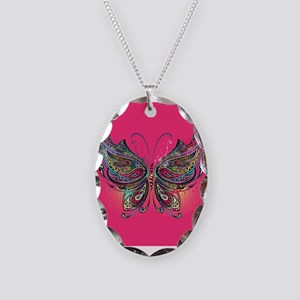 Colorful Butterfly Necklace Oval Charm