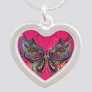 Colorful Butterfly Silver Heart Necklace