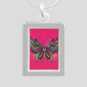 Colorful Butterfly Silver Portrait Necklace