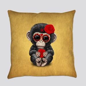 Red Day of the Dead Sugar Skull Baby Chimp on Yell