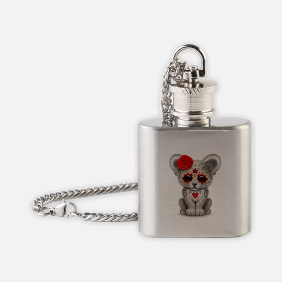 Day of the Dead Sugar Skull White Lion Cub Flask N