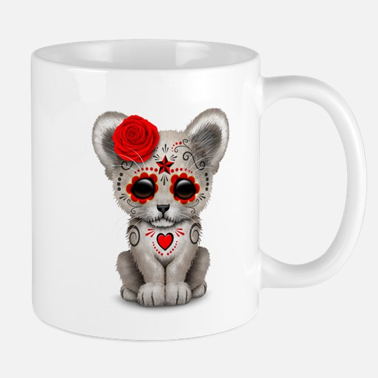 Day of the Dead Sugar Skull White Lion Cub Mugs