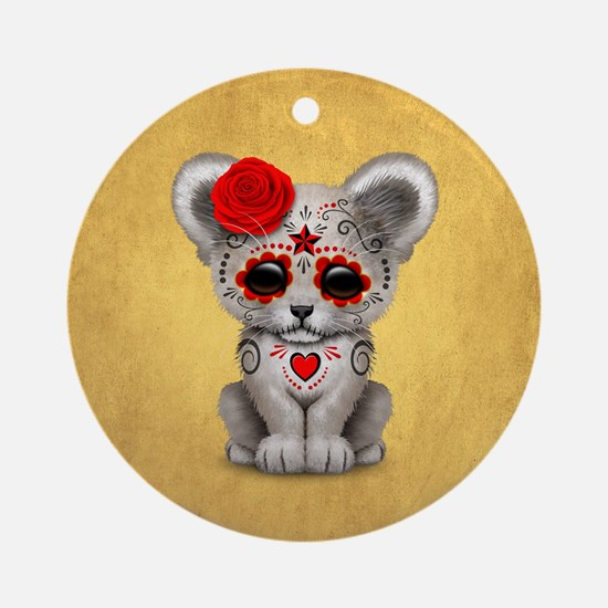 Red Day of the Dead Sugar Skull White Lion Cub Rou