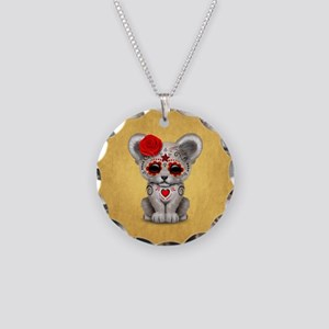 Red Day of the Dead Sugar Skull White Lion Cub Nec