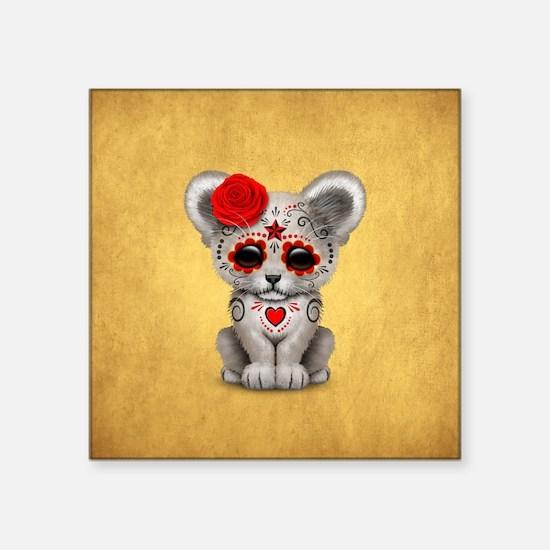 Red Day of the Dead Sugar Skull White Lion Cub Sti