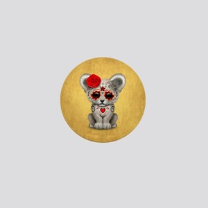 Red Day of the Dead Sugar Skull White Lion Cub Min