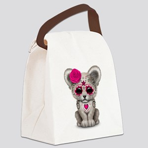 Pink Day of the Dead Sugar Skull White Lion Cub Ca