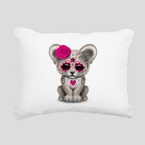 Pink Day of the Dead Sugar Skull White Lion Cub Re