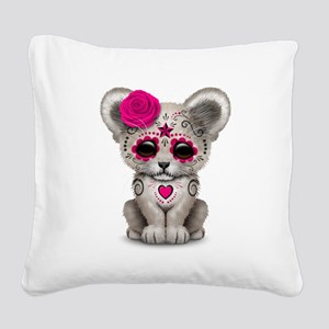 Pink Day of the Dead Sugar Skull White Lion Cub Sq
