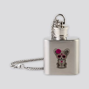 Pink Day of the Dead Sugar Skull White Lion Cub Fl