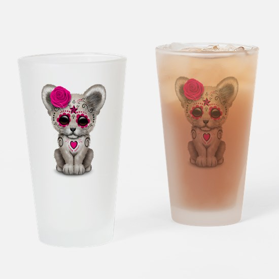 Pink Day of the Dead Sugar Skull White Lion Cub Dr