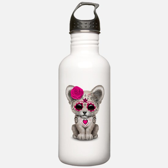 Pink Day of the Dead Sugar Skull White Lion Cub Wa