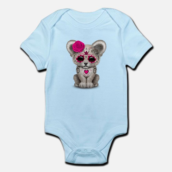 Pink Day of the Dead Sugar Skull White Lion Cub Bo