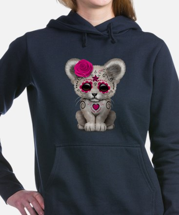 Pink Day of the Dead Sugar Skull White Lion Cub Wo