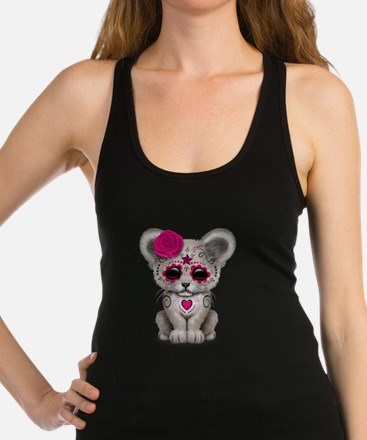 Pink Day of the Dead Sugar Skull White Lion Cub Ra