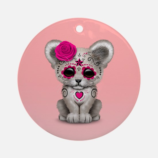 Pink Day of the Dead Sugar Skull White Lion Cub Ro