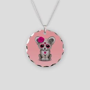 Pink Day of the Dead Sugar Skull White Lion Cub Ne