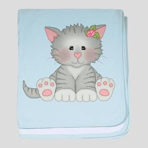 Gray Kitty Baby Blanket