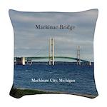 Mackinaw Bridge From City Woven Throw Pillow