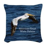 American Great White Pelican Woven Throw Pillow