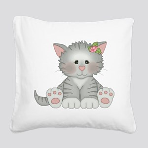 Gray Kitty Square Canvas Pillow