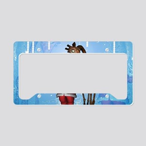 Santa Claus with funny giraffe License Plate Holde
