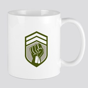Clenched Fist Dogtag Crest Retro Mugs