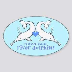 River Dolphin Oval Sticker
