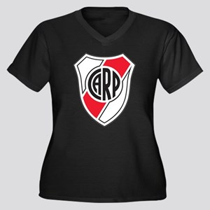Escudo River Plate Women's Plus Size V-Neck Dark T