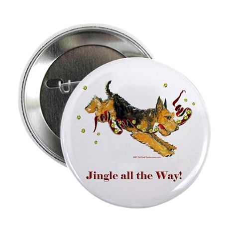 """Welsh Terrier Holiday Dog! 2.25"""" Button (10 pack)"""