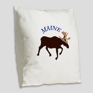 Maine Moose Burlap Throw Pillow