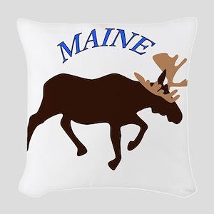 Maine Moose Woven Throw Pillow