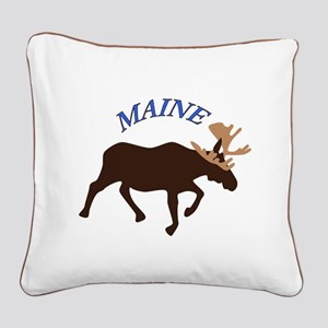 Maine Moose Square Canvas Pillow