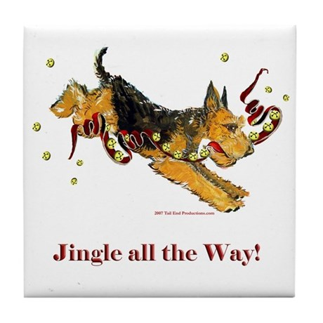 Welsh Terrier Holiday Dog! Tile Coaster