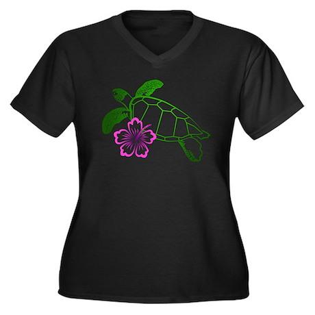 Sea Turtle w/ Hibiscus Women's Plus Size V-Neck Da