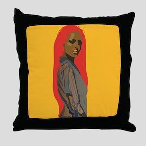 kitsch retro lady yellow Throw Pillow