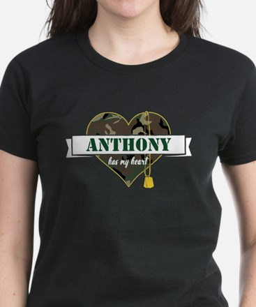 Army Personalized Heart Women's Dark T-Shirt
