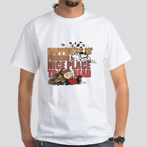 Peanuts Fall Reading White T-Shirt