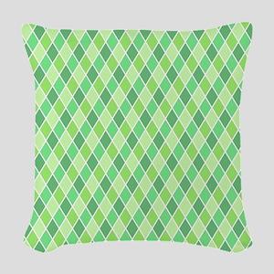 Green Harlequin Pattern Woven Throw Pillow