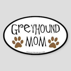 Greyhound Mom Oval (black border) Oval Sticker