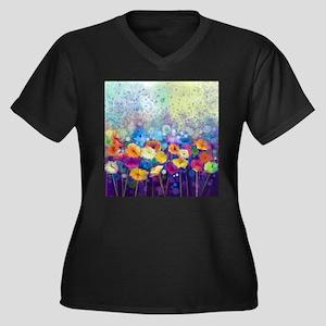 Floral Paint Women's Plus Size V-Neck Dark T-Shirt