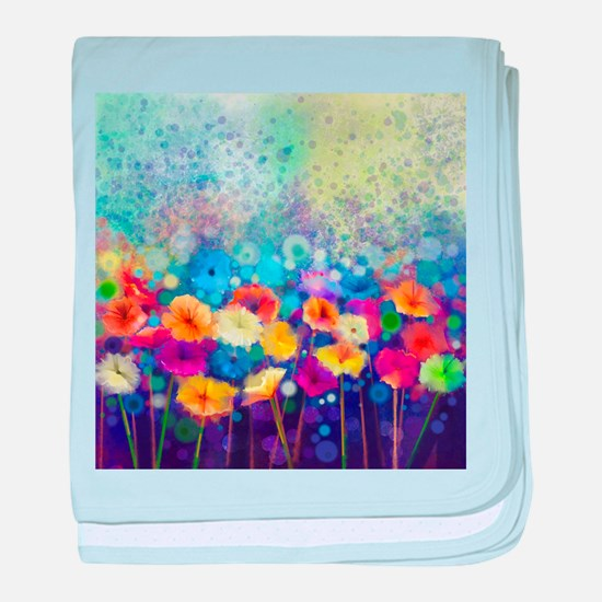Floral Painting baby blanket