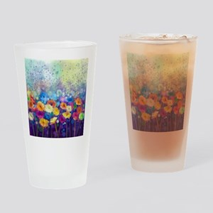 Floral Painting Drinking Glass