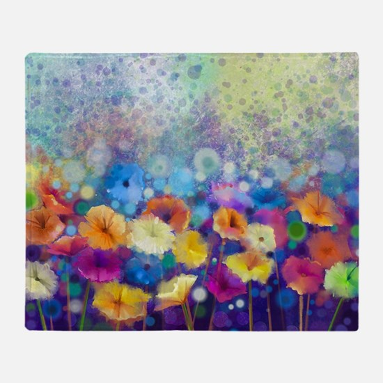 Floral Painting Throw Blanket