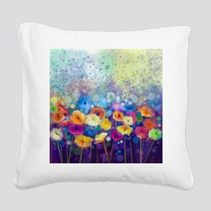 Floral Painting Square Canvas Pillow