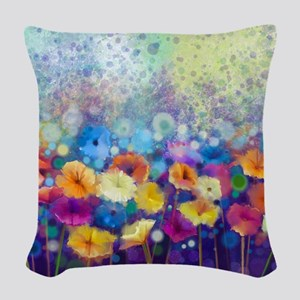Floral Painting Woven Throw Pillow