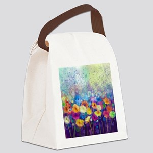 Floral Painting Canvas Lunch Bag