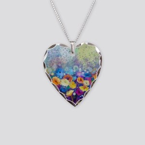 Floral Painting Necklace Heart Charm